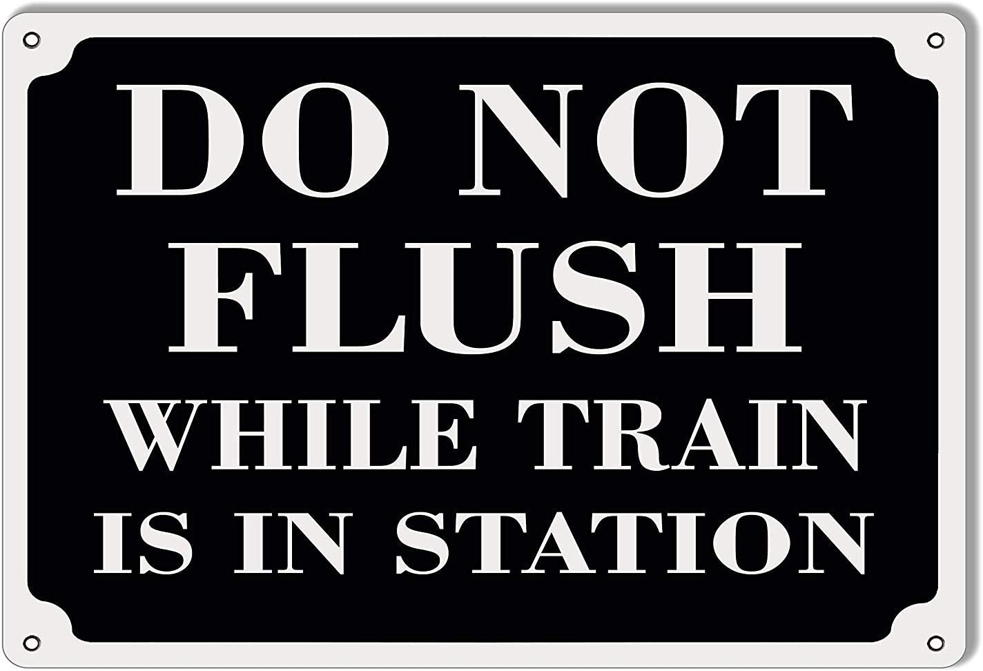 BESTWD Do Not Flush While Train is in Station Railroad Metal Sign 8x12