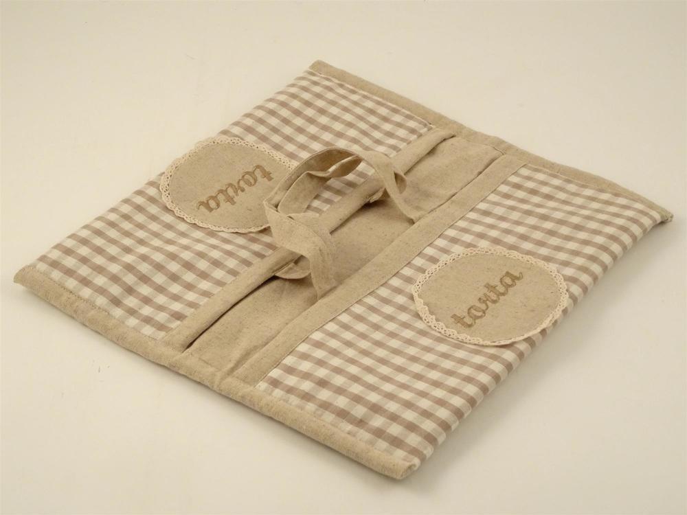 Porta torta in tessuto check panna e color taupe, 38x39 cm Disraeli srl