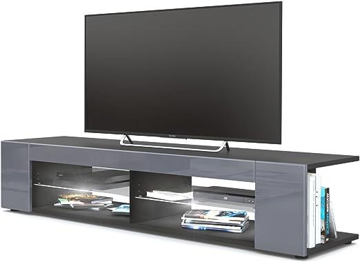 Mesa para TV Lowboard Movie, Cuerpo en Negro Mate/Frentes en Gris ...