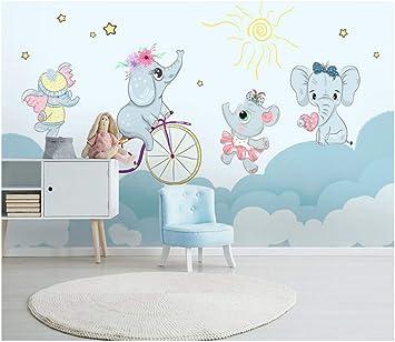 3D Papel Tapiz Mural Elefante De Dibujos Animados Lindo Montar ...