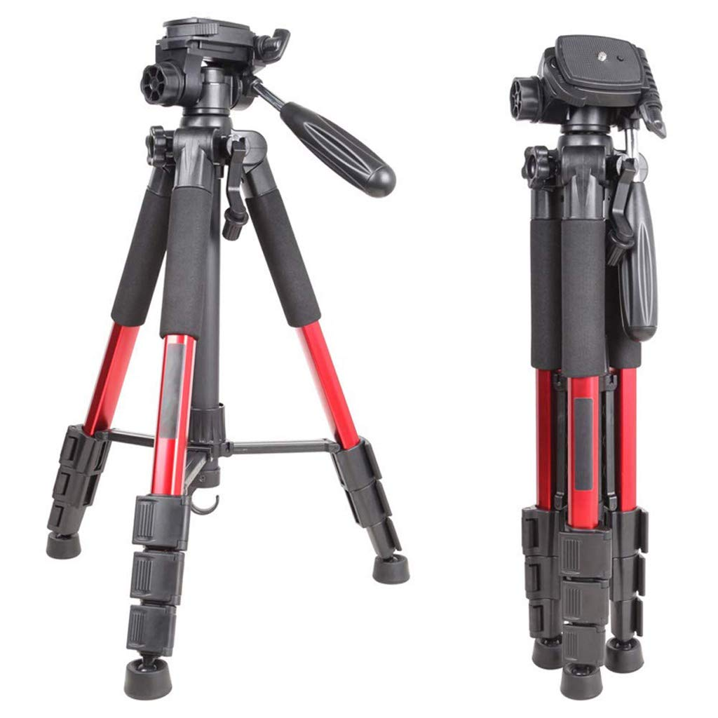 XHHWZB Camera Tripod, Concept 56'' Compact Light Aluminium Tripod with Quick Release Plate, Ball Head and Carrying Bag for Travel for DSLR Camera (Color : Red, Size : Tripod)