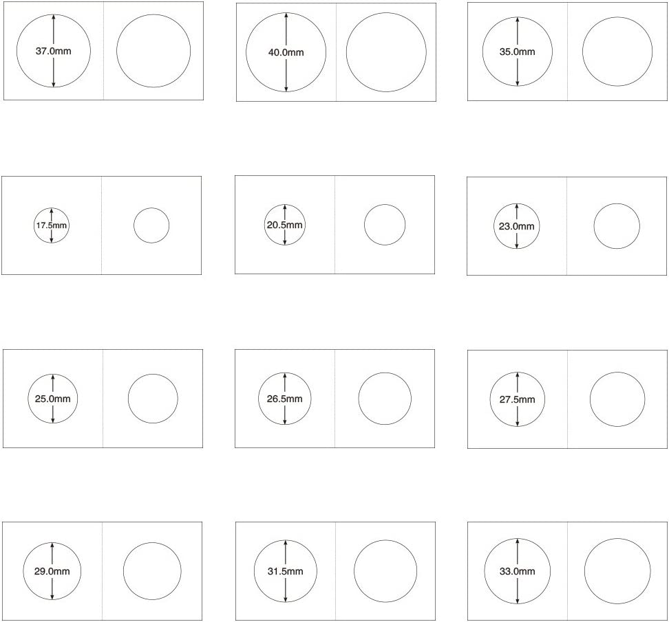 Color Blanco Di/ámetro Circular 23mm 25mm MagiDeal 100PCS Papel Tarjeta Sostenedor para Moneda