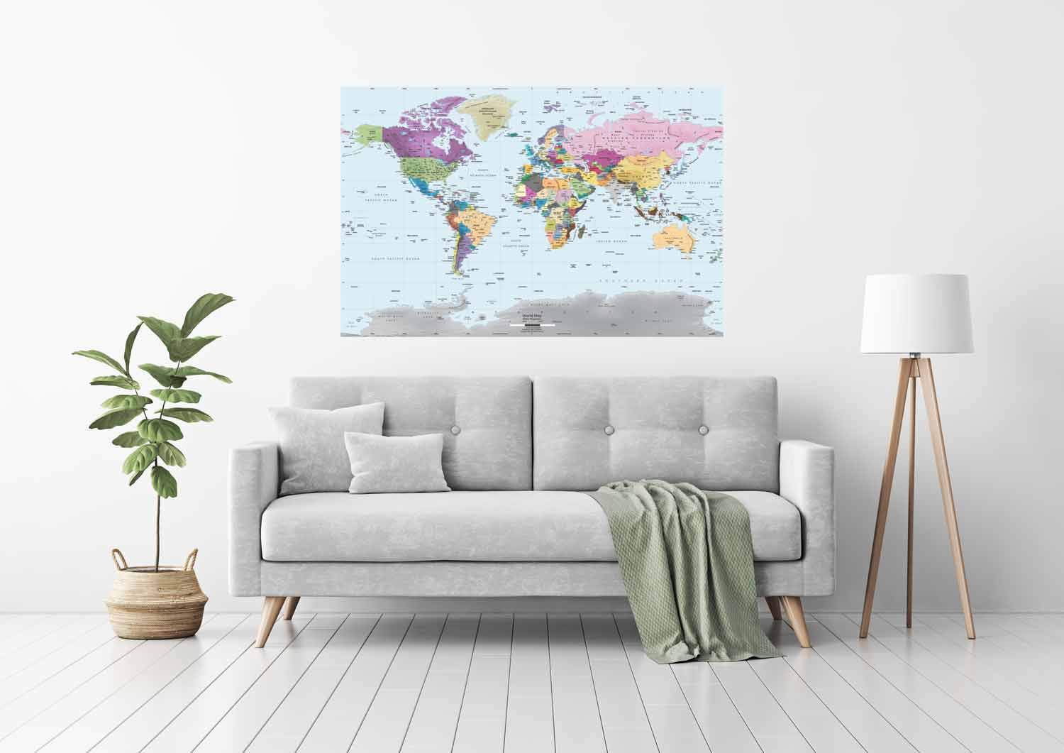 Academia Maps World Map Wall Mural - Modern Colorful Map - 53 x 36 - Premium Self-Adhesive Fabric - Professional-Grade DIY by Academia Maps (Image #2)