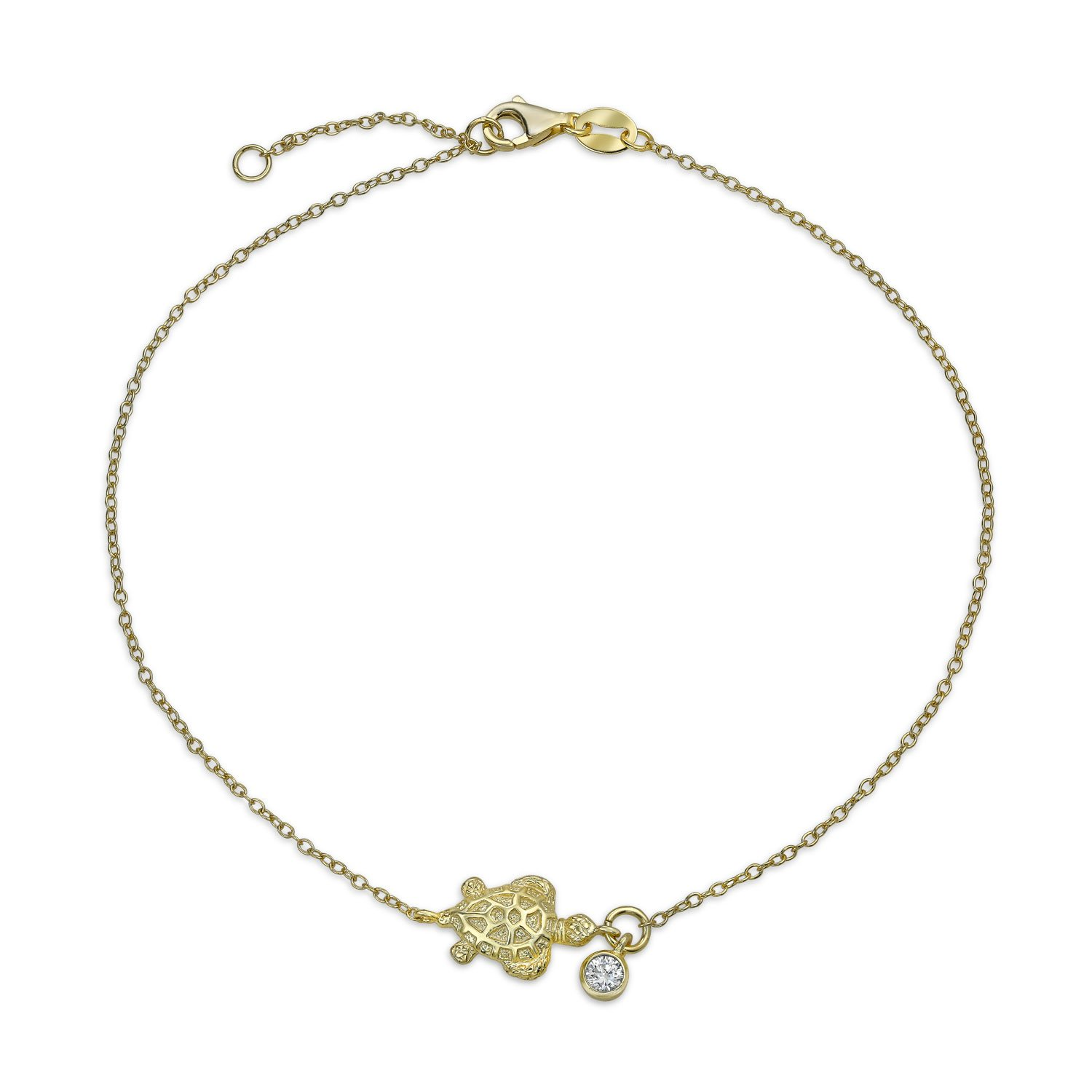 Bling Jewelry Gold Plated Nautical Turtle Anklet Solitaire CZ Charm Silver PFS-54-0363-G