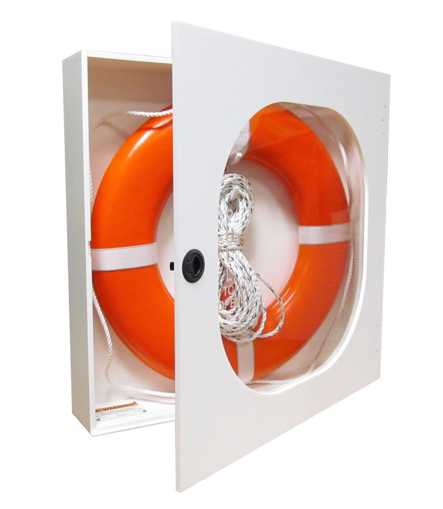 20 Inch Life Ring Cabinet with Throw Line and USCG Buoy by Aquatic Technology, Inc
