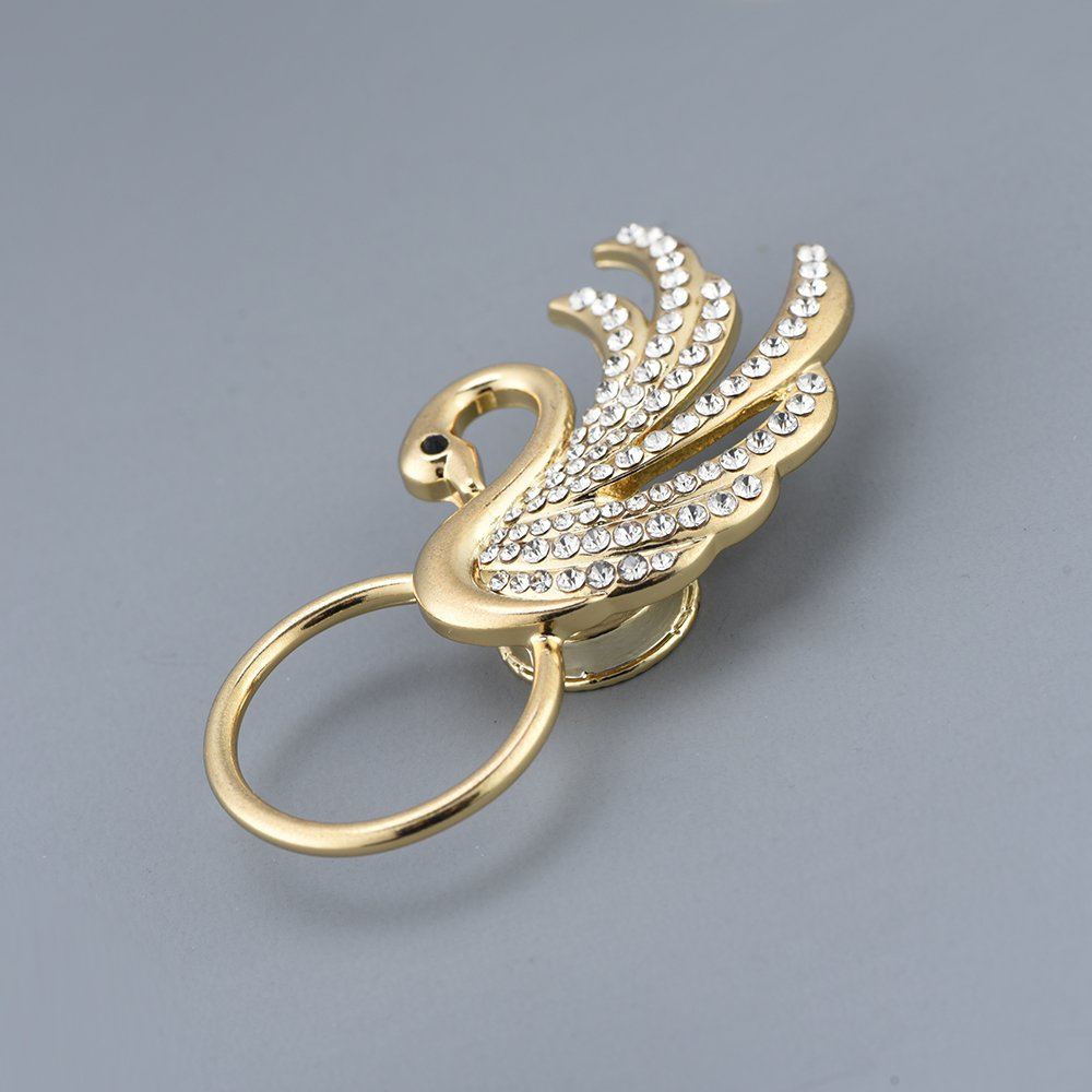 RUXIANG Swan Bird Magnetic Eyeglasses Holder Brooch Pin Jewelry for Women Girls (Gold) by RUXIANG (Image #4)