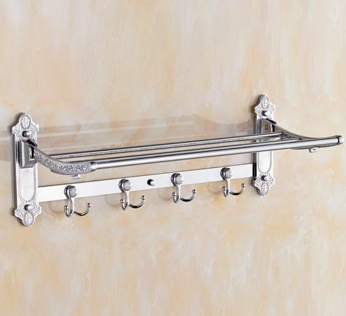 GL&G European luxury Silver Bathroom Bath Towel Rack Double Towel Bar Bathroom Accessories Bathroom Storage Organizer Shelf Bathroom Shelf Shower Wall Mount Holder Towel Bars,6023.513.5cm by GAOLIGUO (Image #5)