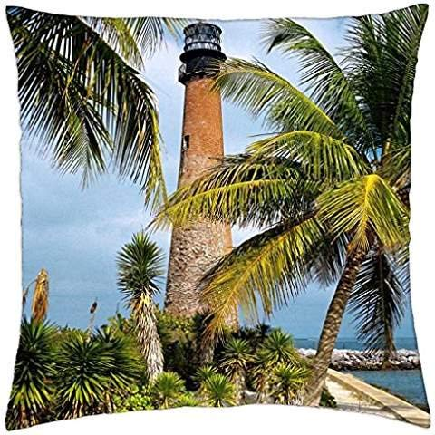 Jidmerrnm Cape Florida Lighthouse Key Biscayne - Throw Pillow Cover Case 18 x 18 Inch ()