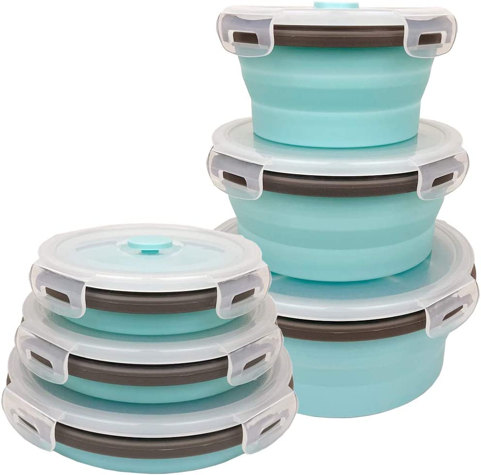 CARTINTS Blue Silicone Collapsible Food Storage Containers-Prep/Storage Bowls with Lids - Round Silicone Lunch Containers - Microwave and Freezer Safe Set of 3
