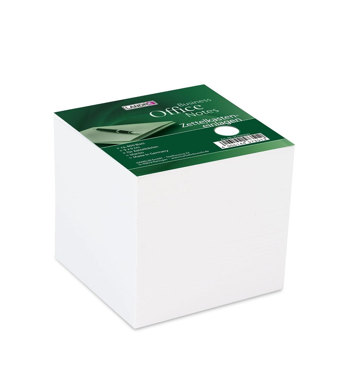 Landre 100420104 biglietti Box, 9 x 9 x 9 cm, ca. 800 pagine bianche, colore: bianco Hamelin Brands