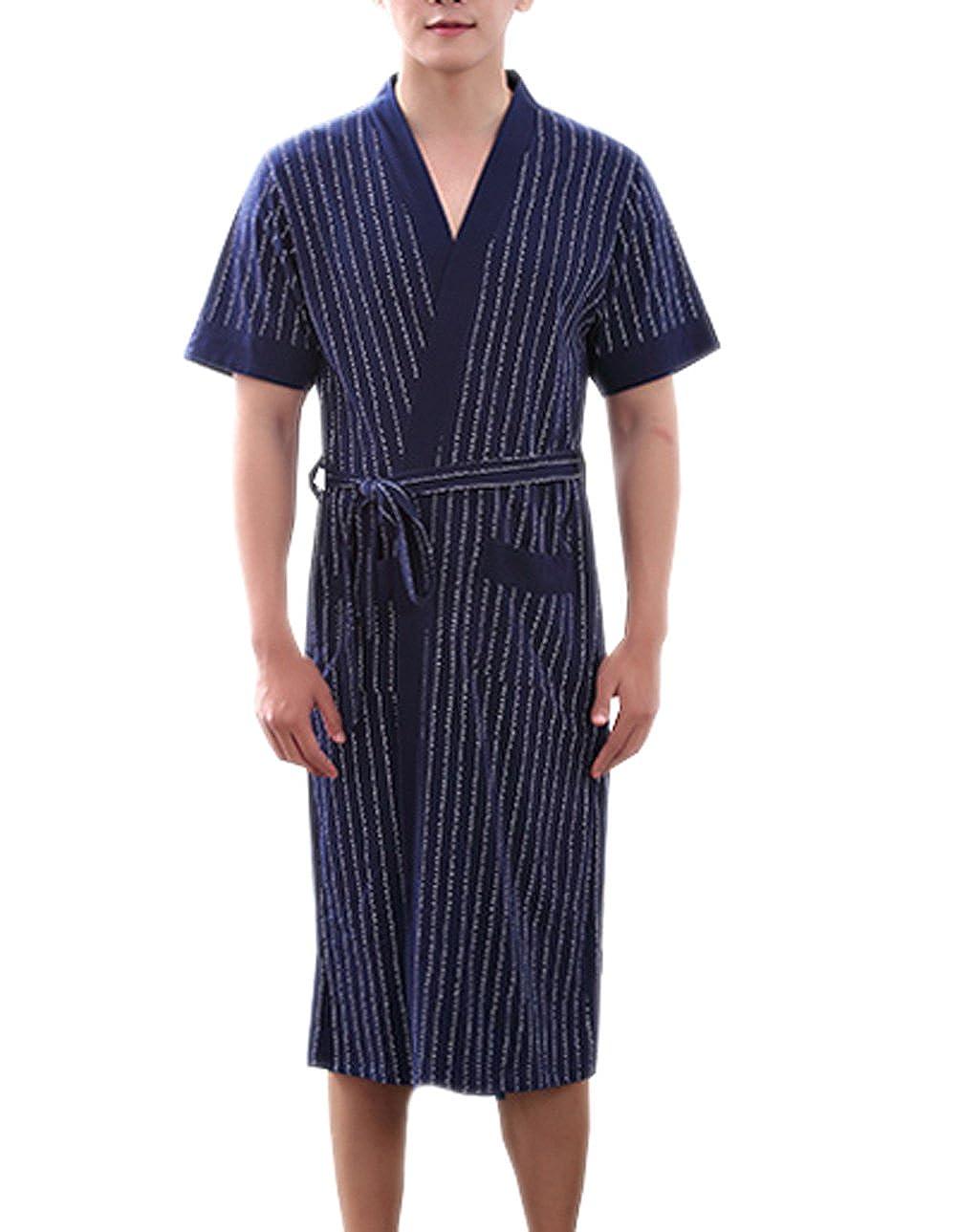 TRENDY XU Mens Cotton Dressing Gown Short Sleeved Bathrobe Nightwear