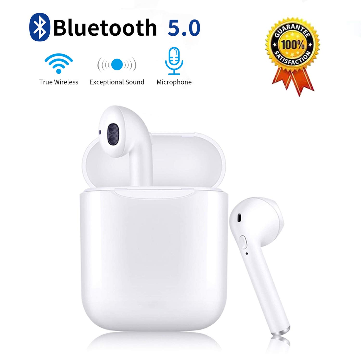 Wireless Earbuds Bluetooth 5.0 Earphones with Charging Case Noise Canceling Sports Earphones IPX5 Waterproof in-Ear Built-in Mic Headset for iPhone Android Apple Airpods