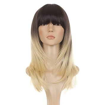 Perruque cheveux long avec frange