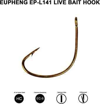 MADE IN USA 100 Size 1//0 Kahle Offset Hooks Straight Eye Bronze