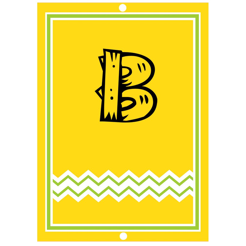 ''B '' Wood Initial Monogram Personalized Letter B Blue Room Nursery Décor METAL Sign Yellow