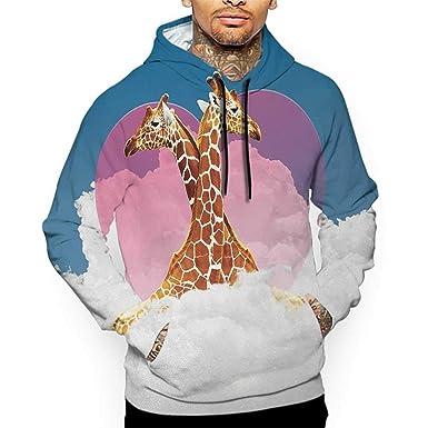 bd9a6197a77e Hoodies Sweatshirt Men 3D Print Animal,Cuddly Giraffes Living on Fluffy  Clouds with Heart Figure