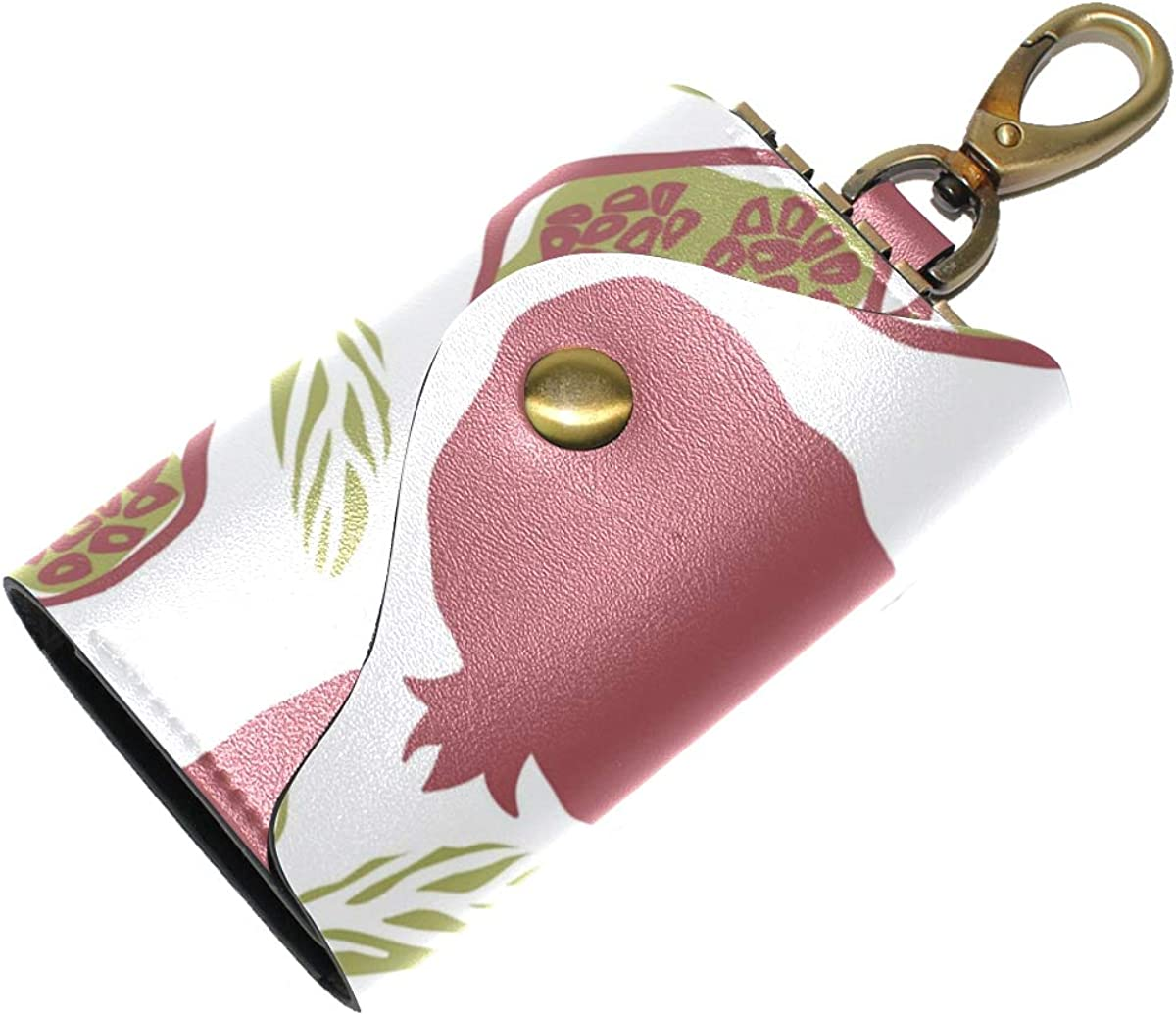 KEAKIA Fruits Leather Key Case Wallets Tri-fold Key Holder Keychains with 6 Hooks 2 Slot Snap Closure for Men Women