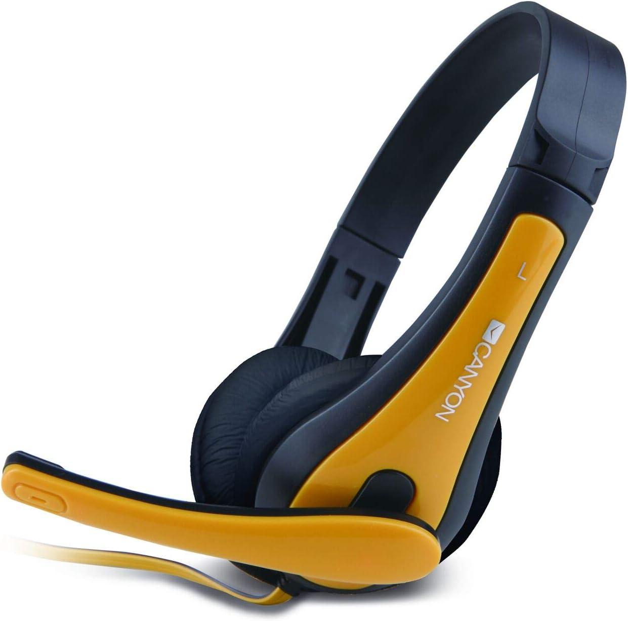 Jaune Casque Audio PC//Jeux, Binaural, Bandeau, Noir, Jaune, avec Fil, 2 m Casques Audio Canyon CNS-CHSC1BY Binaural Bandeau Noir