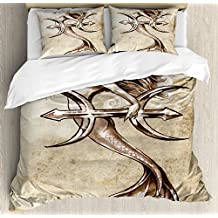 Mermaid King Size Duvet Cover Set by Ambesonne, Vintage Style Mermaid in the Sea with an Anchor Mythical Aquatic Creature Graphic Art, Decorative 3 Piece Bedding Set with 2 Pillow Shams, Beige Brown