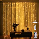 Led Curtain String Light USB with Remote for Bedroom Wedding Party Window Decorate (Warm White)