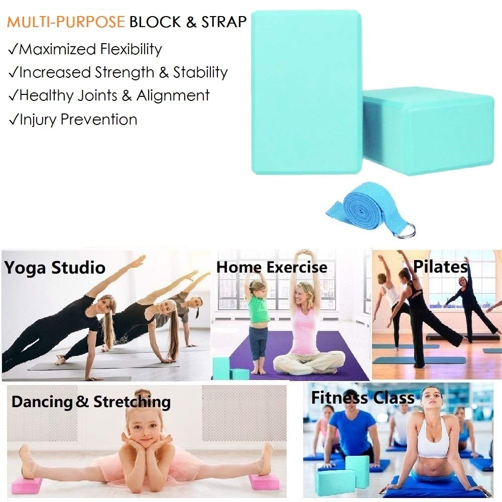 MOREFUN 2 Bloques de Yoga y 1 Yoga-Correa Combo, EVA ...