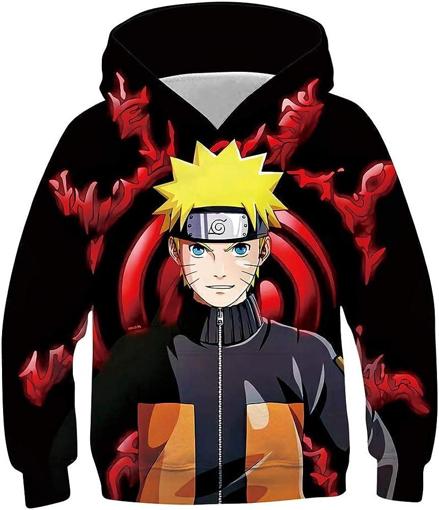 Enicuter Jungen Naruto Kapuzenpullovers Anime Cool Grafikdruck Kapuzenpullover Pullover mit gro/ßen Taschen 6-16 Jahre