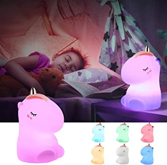 Enfants veilleuse de bande dessin/ée licorne bo/îte /à musique lampe de chevet boule de cristal dessin anim/é chambre /éclairage d/écoratif enfants s jouet lampe de Table-Bleu