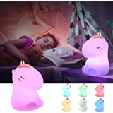 Unicorn Night Light,GoLine Unicorn Gifts for Girls Age 1-12,Unicorn Lamps for Baby,Kids Night Lights for Bedroom,Cute Silicone Unicorn Toys for Children.
