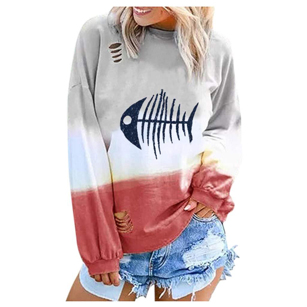 Yajiemen Womens Fashion Gradient Long Sleeve Long Sleeve Round Neck Shirt Blouses