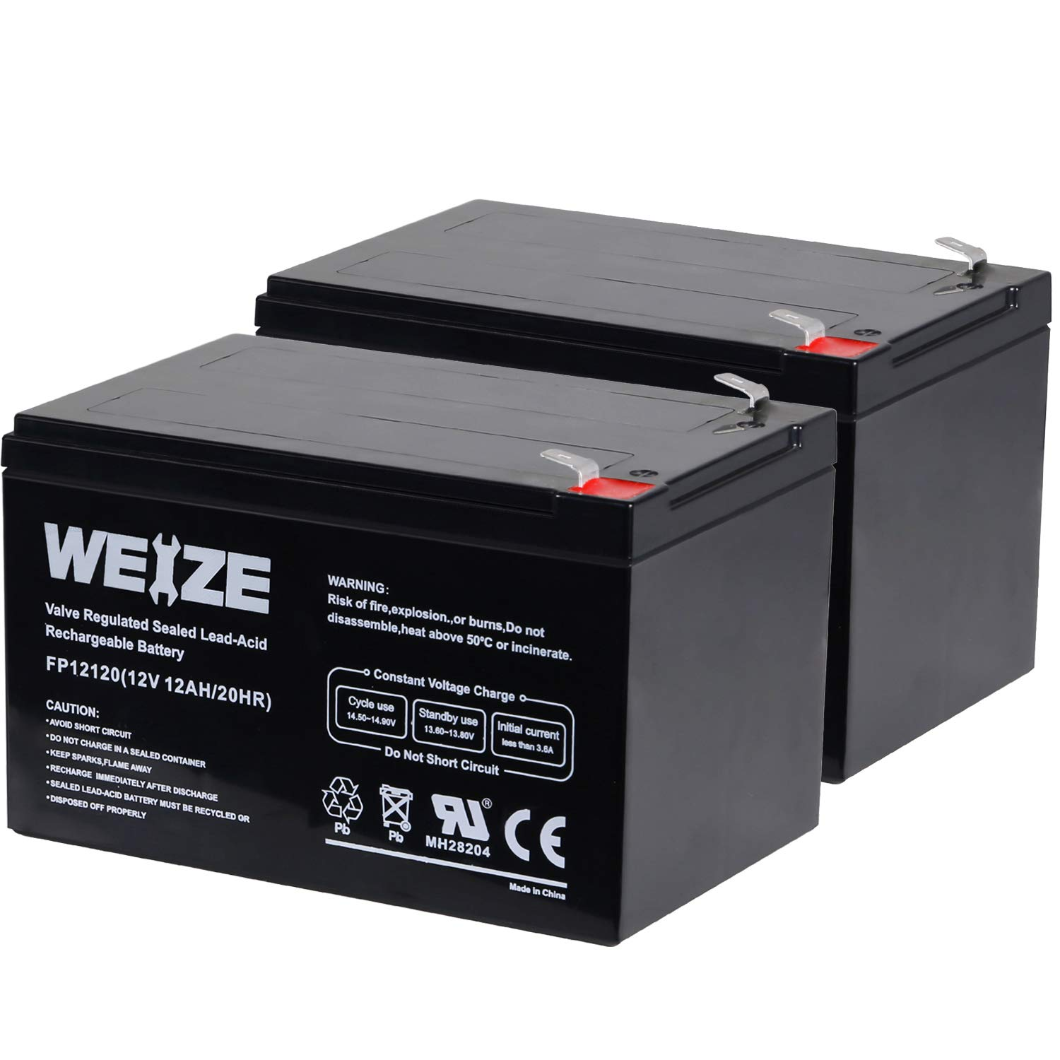 Weize 12 Volt 12AH SLA Rechargeable Battery Replace UB12120, EXP1212, 6FM12, LHR12-12, GPS12-12F2, 2 Pack by WEIZE