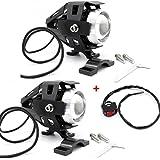 USUN 2pcs Moto Cree LED Faro Faretto Proiettore Spot Fendinebbia Anteriore Guida Luci 125W