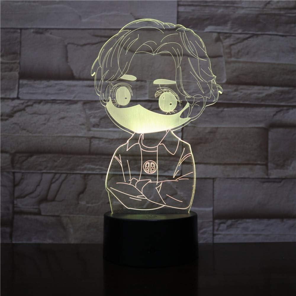 KangYD Cute Mask Boy 3D Night Light, Illusion LED Lamp, Lovers Gift, Touch 7 Color (Black Base),Lámpara de noche: Amazon.es: Iluminación