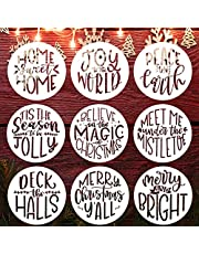Christmas Stencils 4 Inch Round Merry Christmas Stencils for Painting on Wood Reusable Christmas Ornaments Stencil for Wall Glass Cards Scrapbook Journal Cookie