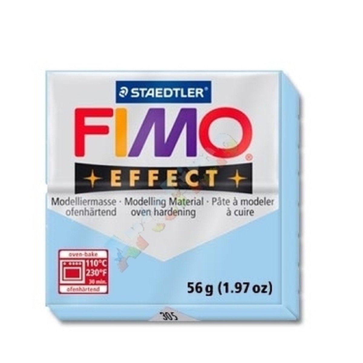 STAEDTLER FIMO Effect Pastel Aqua (305) FIMO Effect Polymer Modelling Moulding Clay Block Oven Bake Colour 56g (Pack Of 1)