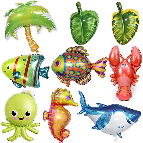 - CHQHQ Large Sea Animal Balloons Sea Horse Balloon Octopus Balloon Shark Balloon Tropical Fish Balloons Bubble Fish Balloon Lobster Balloon Coconut Tree Balloon Leaf Balloon for Kid Birthday Party Deco