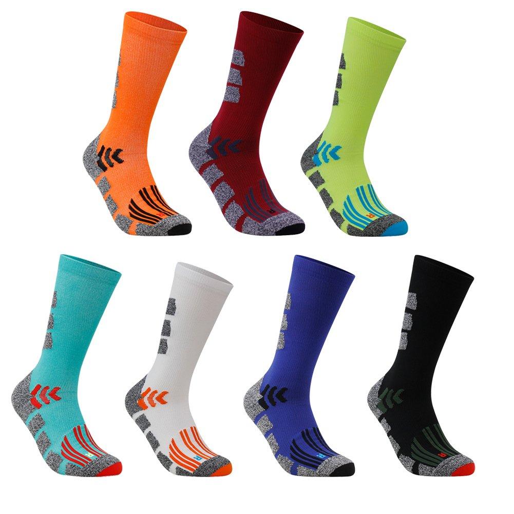 Colorful Basketball Socks, LANDUNCIAGA Mens Graduated Compression 12-15mmHg Running Hiking Sking Recovery Socks For Men and Women,3 Pairs by LANDUNCIAGA