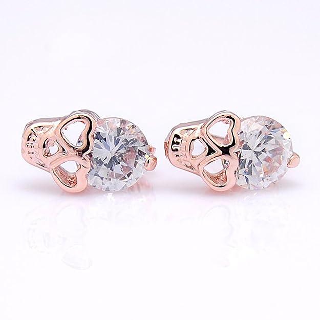 2LIVEfor orecchini a forma di Teschio piccolo con zirconi, placcati oro rosa:  Amazon.it: Gioielli