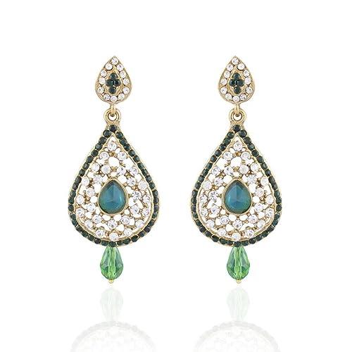 Ich Jewels Damen-Traditionelle vergoldet Stein Ohrringe grün