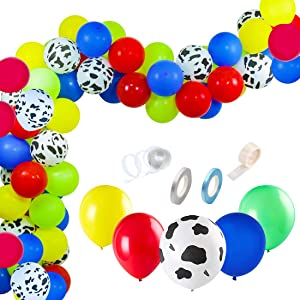 Dadoudou Carnival Party Supplies Balloons Arch Kit,100 Pack Latex Toy Story Party Birthday Balloons Arch Garland for Baby Shower, Paw Birthday Party or Circus Party Decorations