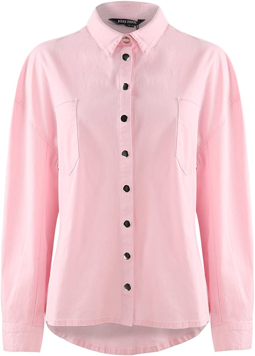 Haoduoyi Womens Casual Basic Letter Print Large Size Long Sleeve Blouse Tops