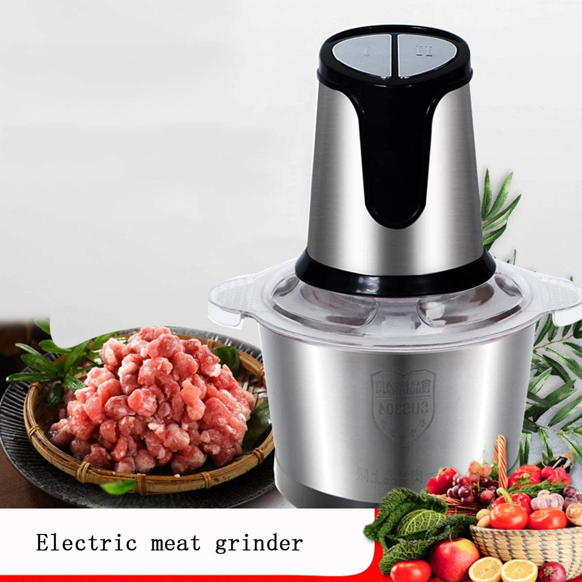 SHUHAO Electric Meat Grinder, Garlic Puree Blender, Kitchen Food Processor with Two-Speed Adjustable for Baby Food Condiments and Fillings