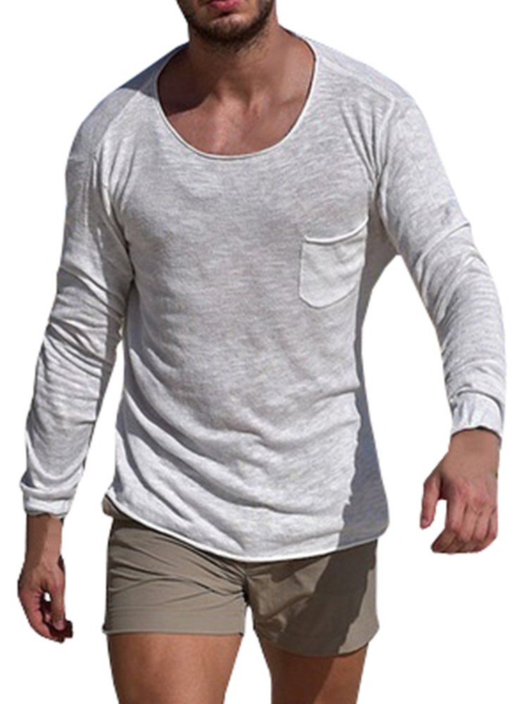 Runcati Mens Knit Shirts Crew Neck Tops Long Sleeve Tees Plain Sweatshirt Workout Loose Fit Beach Blouses