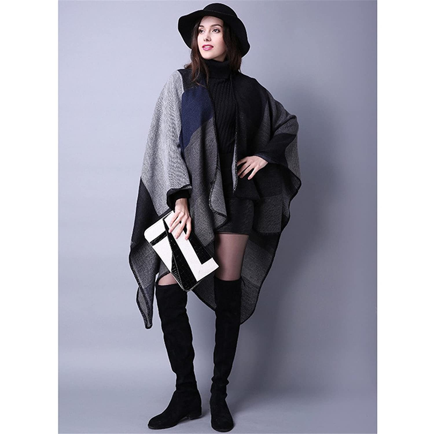 8haohuo Women Winter Knitted Cashmere Poncho Capes Shawl Cardigans Sweater Coat