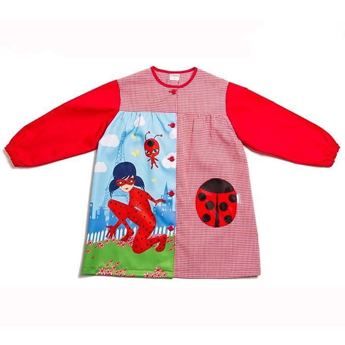 Dyneke Bata escolar botón rojo Lady Bug personalizable con nombre bordado (Talla 4)