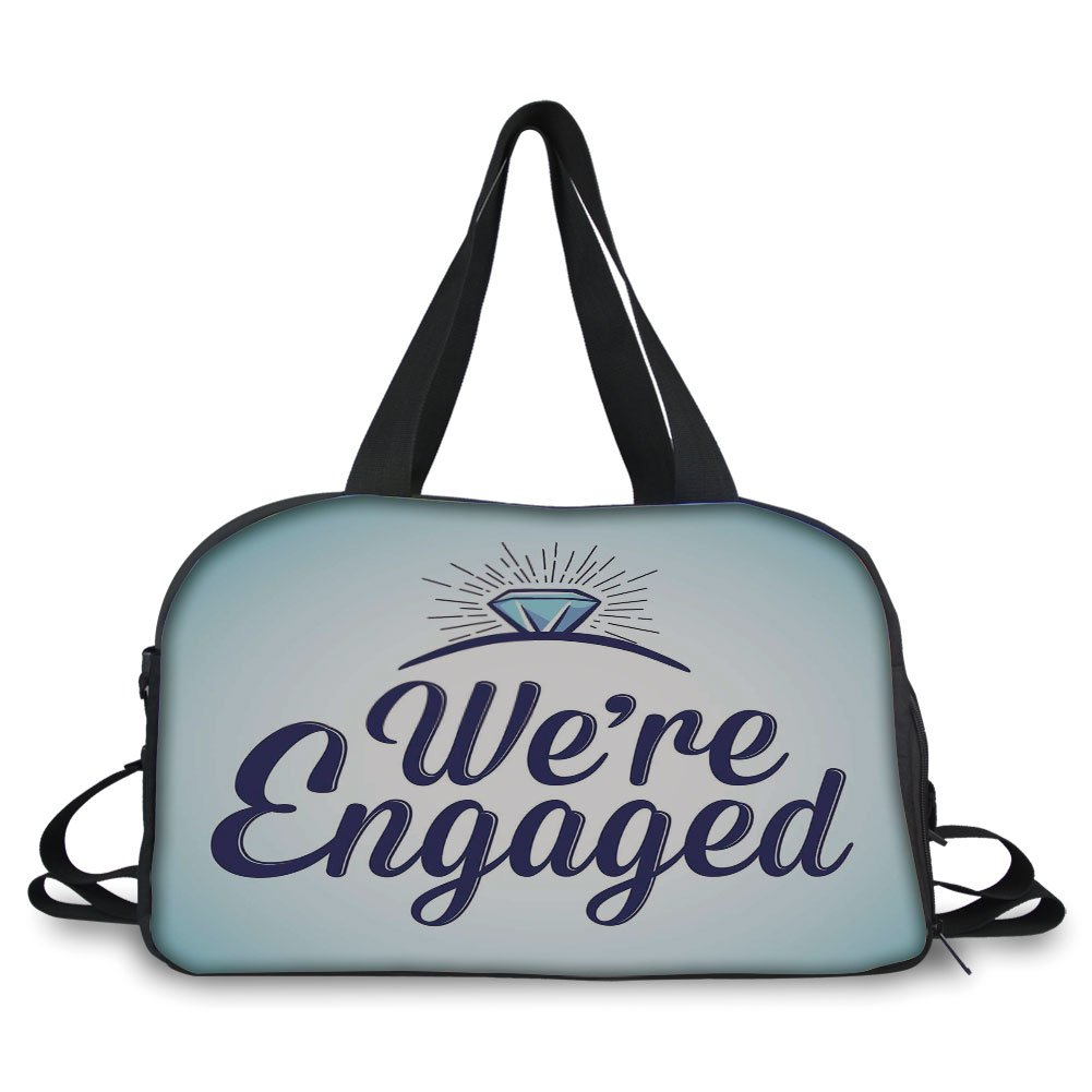 iPrint Travel handbag,Engagement Party Decorations,We Are Engaged Announcement Quote Wedding Ring,Sky Blue and Navy Blue ,Personalized