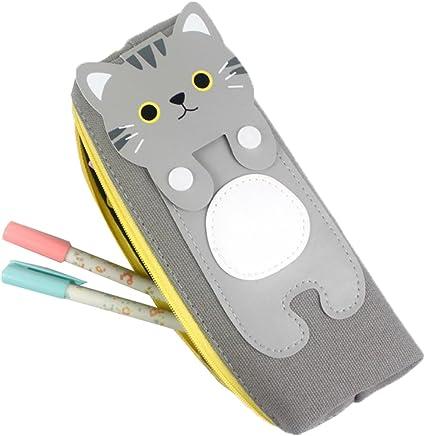 Comfysail lindo gato Estuche Escolar Portalápices Artículo de papelería con un cierre de cremallera Ideal para Estudiantes para lápices o maquillaje: Amazon.es: Oficina y papelería