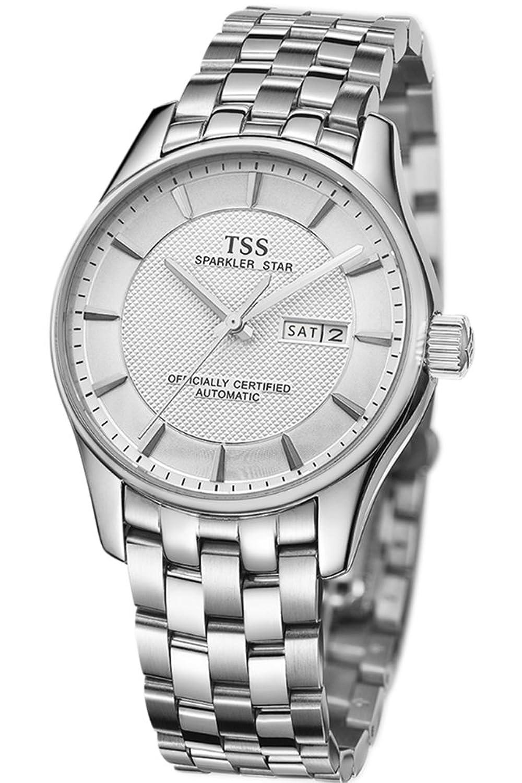 TSS Herren Weiß Zifferblatt Silber Hand silber Edelstahl Band automatische Bewegung Armbanduhr