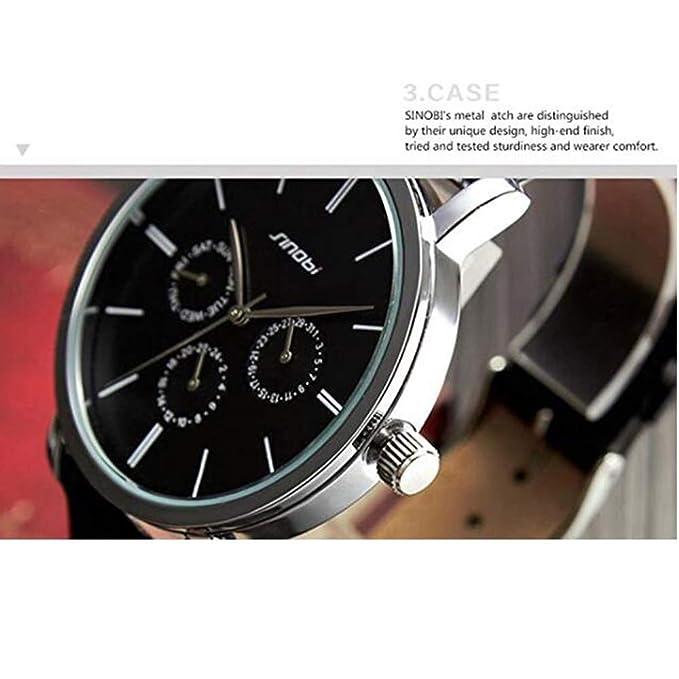 Amazon.com: SINOBI Leather Strap Men Watch, Sub-Dials Multifunction Chronograph Stopwatch Men Black reloj de pulsera: Watches
