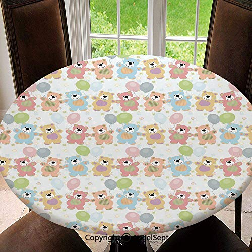 Polyester Fabric Elastic Edged Tablecloth,Happy Teddy Bears Balloons Celebrating Cute Drawing Effect Decorative Soil Resistant Holiday Tablecloth, 47 Inch Round,Pale Pink Pale Yellow Pale Blue ()