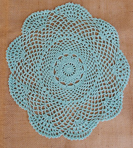 PaperLanternStore.com 11.5 Inch Round Shaped Handmade Cotton Crochet Doilies - Cool Mint (2 Pack)